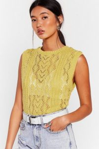 NASTY GAL Knit So Fast Pointelle Knit Vest in Lime