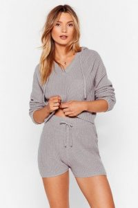 Nasty Gal Knit's in Hoodie and Shorts Lounge Set