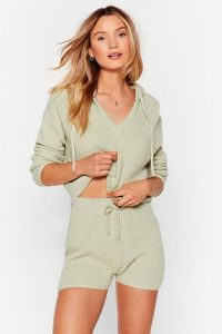 Nasty Gal Knitted Hoody & Short Lounge Set in Sage