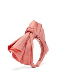 MARTA FERRI Dusty pink knotted silk-faille headband | statement headbands