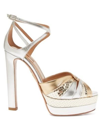 AQUAZZURA La Di Da 130 platform metallic-leather sandals in gold ~ luxe party shoes