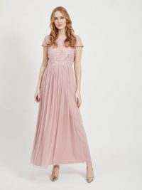 VILA LACE BOAT NECK MAXI DRESS Pink / Pale Mauve
