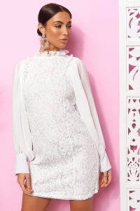 THE FASHION BIBLE LACE HIGH NECK SHEER SLEEVE MINI DRESS – LWD