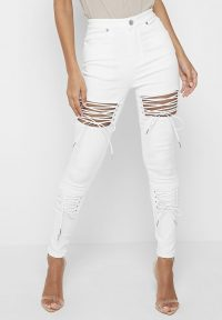Manière De Voir LACE UP CUT OUT SKINNY JEANS – WHITE