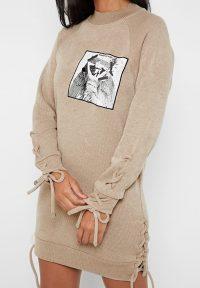Manière De Voir LACE-UP KNITTED JUMPER DRESS BEIGE