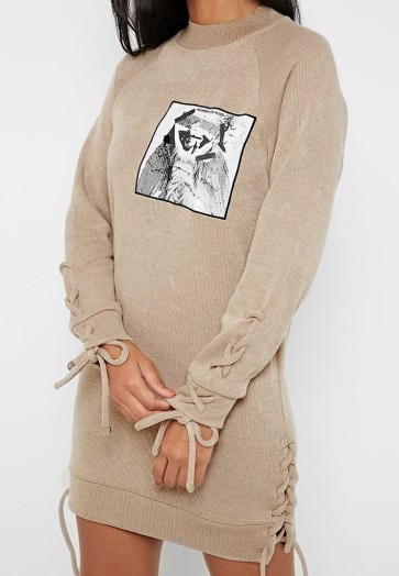 Manière De Voir LACE-UP KNITTED JUMPER DRESS BEIGE