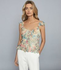 REISS LANA FLORAL-PRINT RUFFLED CAMI TOP PINK ~ multicoloured tops
