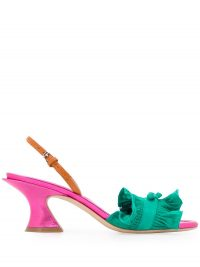 LANVIN pleated low heel sandals in green / pink