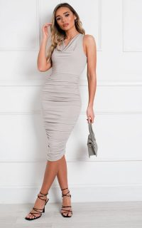 ikrush Lara Bodycon Midi Dress in Silver – ruched going out dresses