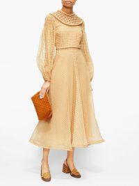 FENDI Lattice-panel gingham silk-organza dress in ochre-yellow