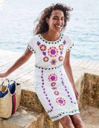 Boden Laura Linen Embroidered Dress in White ~ fresh summer look