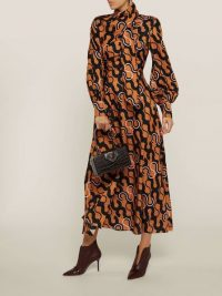 LAYEUR‎ Lee Scarf Neck Printed Cotton-Silk Dress ~ abstract printed dresses