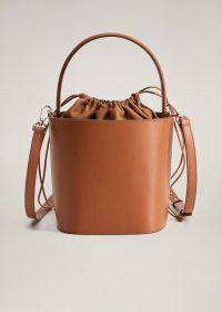 Brown Top Handle Bag – MANGO Leather bucket bag REF. 67074766-ADITA-LM