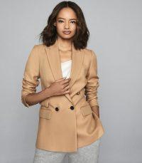 REISS LEDBURY JACKET WOOL BLEND DOUBLE BREASTED JACKET CAMEL ~ effortless style jackets