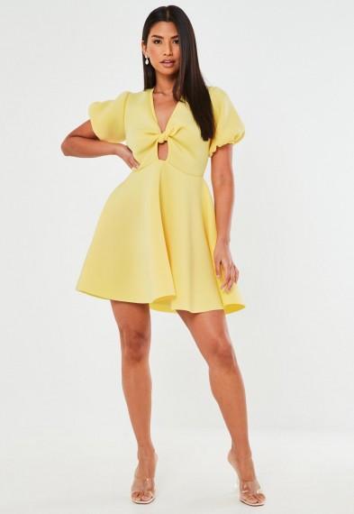 Missguided lemon knot front puff sleeve skater dress