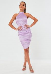 Missguided lilac stretch satin halterneck mini dress – halter dresses