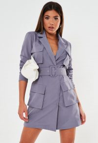 Missguided lilac tailored utility blazer dress – belted jacket dresses