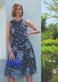 Hobbs LILITH EMBROIDERED DRESS in Navy Blue / sleeveless fit and flare occasion dresses