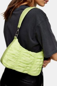 TOPSHOP Lime Green Ruched Nylon Shoulder Bag