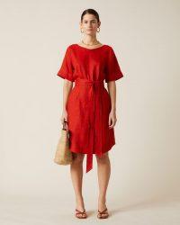 Jigsaw LINEN BELTED DRESS Paprika / red summer dresses