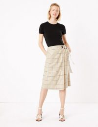 M&S COLLECTION Linen Checked Wrap Midi Skirt Brown Mix