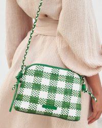 Loeffler Randal Mallory Woven Crossbody Bag in White and Green Gingham | spring colours
