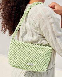 Loeffler Randal Marleigh Beaded Baguette Bag in pistachio green