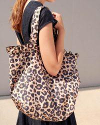 Loeffler Randall Roxana Large Nylon Tote in Leopard | ruffle trim bags