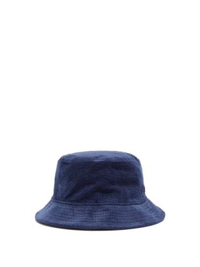 ACNE STUDIOS Logo-embroidered corduroy bucket hat / mens navy blue summer hats