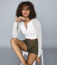 REISS LOLA ZIP NECK TOP WITH SHEER SLEEVES WHITE ~ wardrobe essential