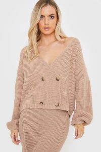 LORNA LUXE CAMEL COPENHAGEN DOUBLE BREASTED KNITTED CARDIGAN – slouchy cardigans