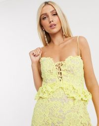 Love Triangle lace ruffle mini dress in lemon – pale yellow skinny-strap dresses