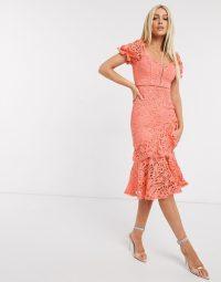 Love Triangle ruffle lace midi dress in coral