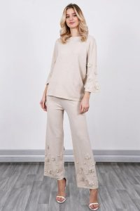 LUCY SPARKS LOUNGEWEAR CO ORD SET WITH PEARL DETAIL BEIGE