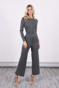 LUCY SPARKS LOUNGEWEAR TWO PIECES SET WITH BUTTONS GREY
