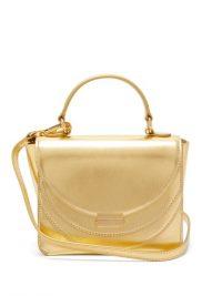 Top Handle Bag | WANDLER Luna mini metallic gold-leather cross-body bag | small luxe bags