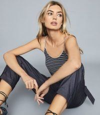 REISS MADDY METALLIC STRIPED KNIT CAMI TOP NAVY ~ essential strappy tops