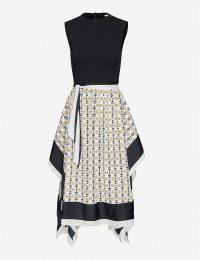 MAJE Rosy woven midi dress in black / white