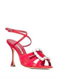 MANOLO BLAHNIK Ticuna crystal sandals in red silk satin
