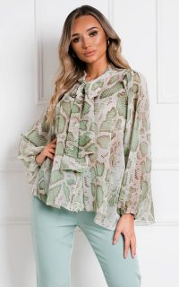 Ikrush Marcella Tie Neck Shirt Top in Green
