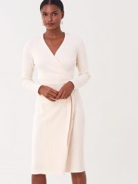 Diane von Furstenberg Marie Ribbed Cotton-Cashmere Wrap Dress in Ivory / DVF knitwear