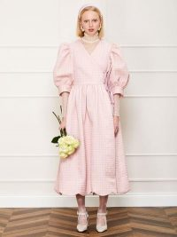 sister jane DREAM Rosy Ray Midi Wrap Dress in Rose Quartz | pink dresses with volume