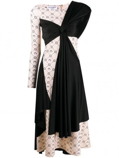 MARINE SERRE asymmetric logo-print midi dress