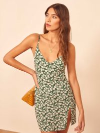 Reformation Hosby Dress in Cilantro – ditsy green mini