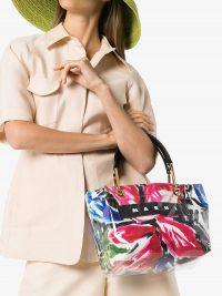MARNI logo patch tote bag / bright PVC bags