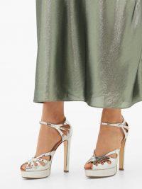 FRANCESCO RUSSO Mary Jane platform metallic-silver leather sandals