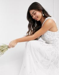 Maya Petite all over embellished maxi dress in white / wedding dresses / bridesmaid / bridal / occasion wear