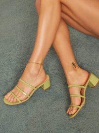 REFORMATION Menage Sandal in Lime Croc Effect