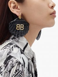 BALENCIAGA Black Mermaid BB-logo shell drop earrings