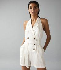 REISS MERRITT LINEN BLEND HALTERNECK PLAYSUIT CREAM ~ tuxedo inspired playsuits